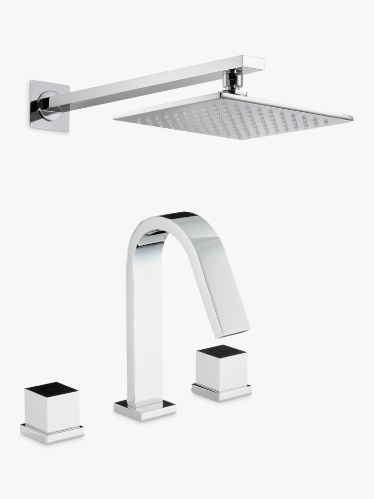 Abode Zeal Thermostatic Deck Mounted 3 Hole Bath Mixer Tap with Wall Mounted  Shower at John Lewis & Partners