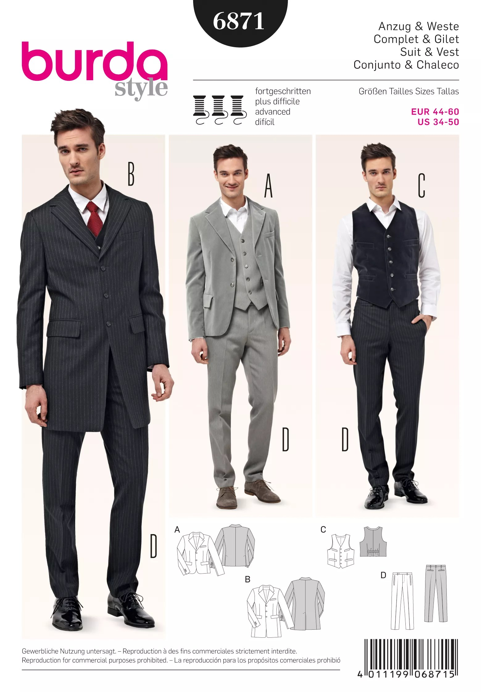 Suit Pattern : pattern, Burda, Men's, 3-Piece, Sewing, Pattern,, Lewis, Partners