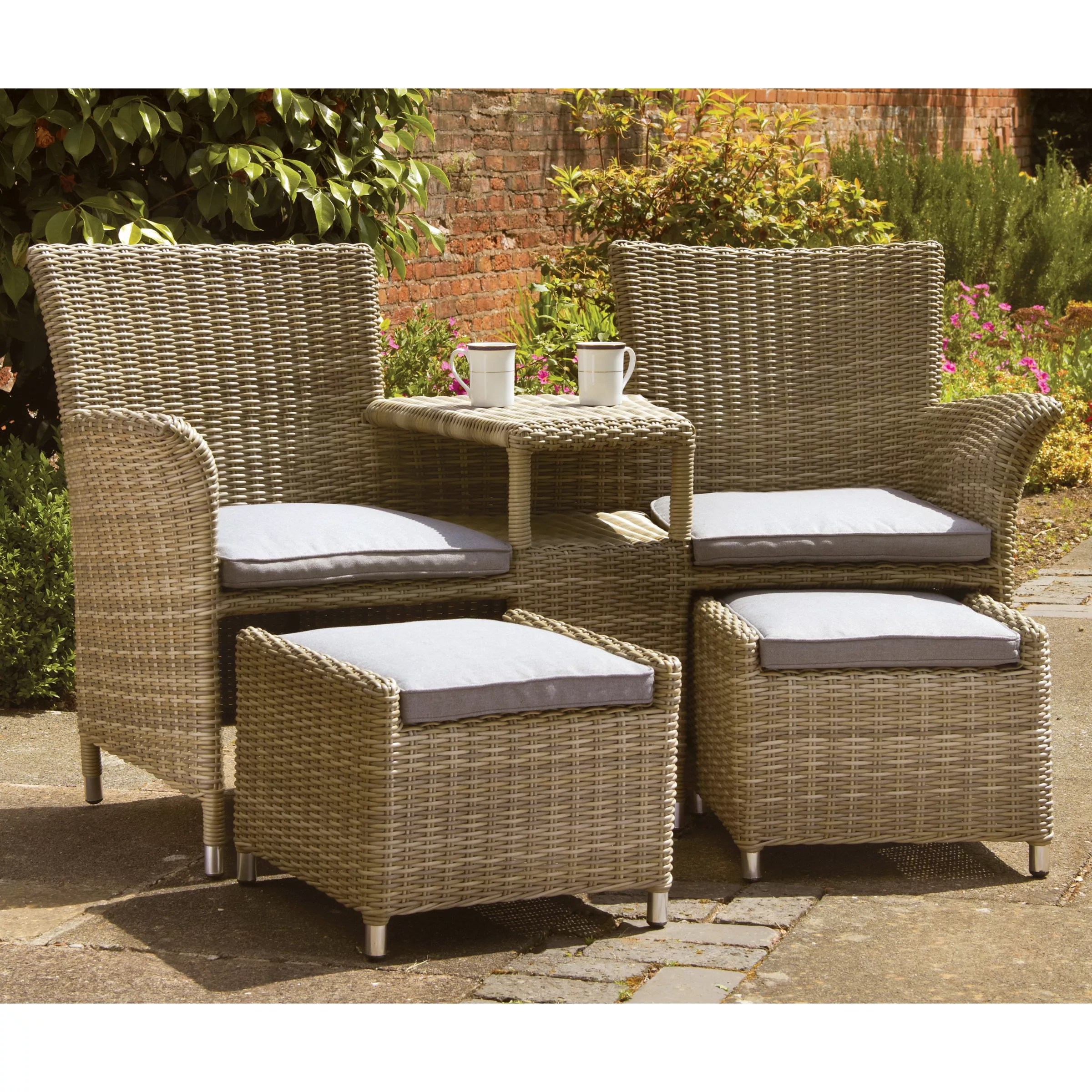 easy chairs with integral footrest wing ikea royalcraft wentworth garden love seat footstools at