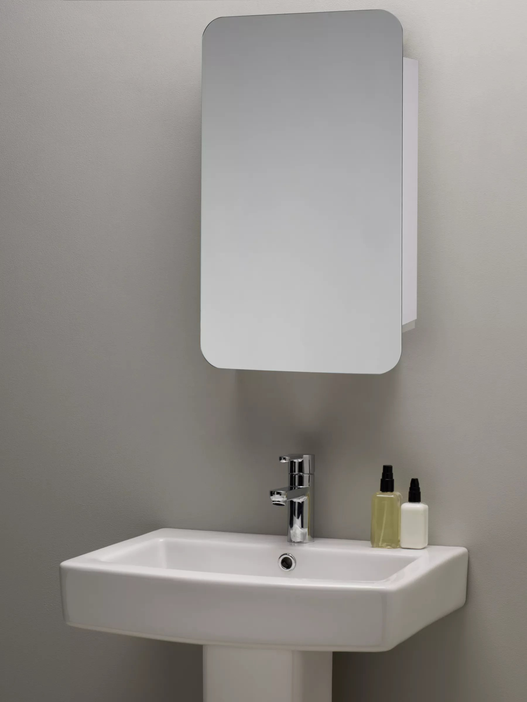 John Lewis Partners Single Mirrored Sliding Door Bathroom Cabinet At John Lewis Partners