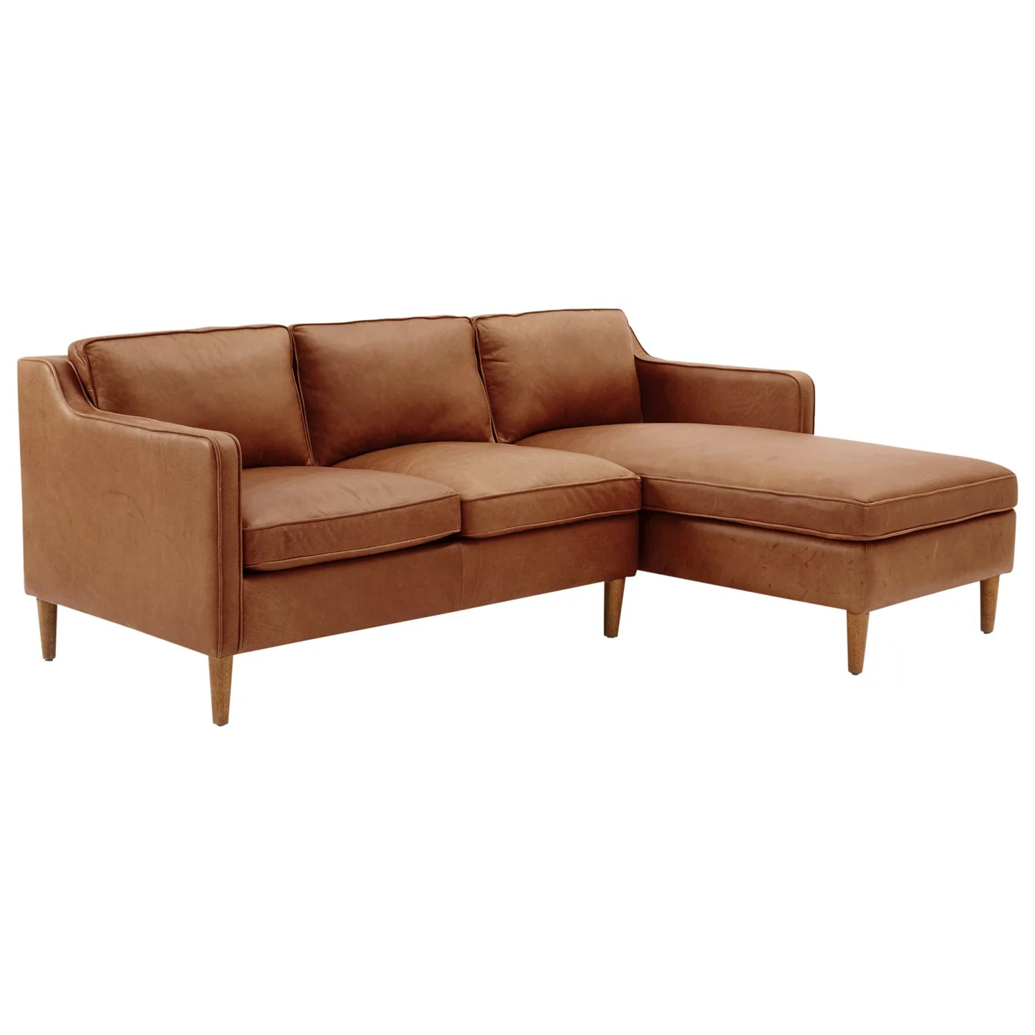 west elm hamilton leather sofa tan hide a beds sectional left loveseat octer