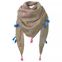 Fat Face Children's Giraffe Tile Square Scarf, Khaki at