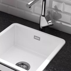 Small White Kitchen Sinks Faucet Sets Ceramic John Lewis Partners Clearwater Metro Single Bowl Sink