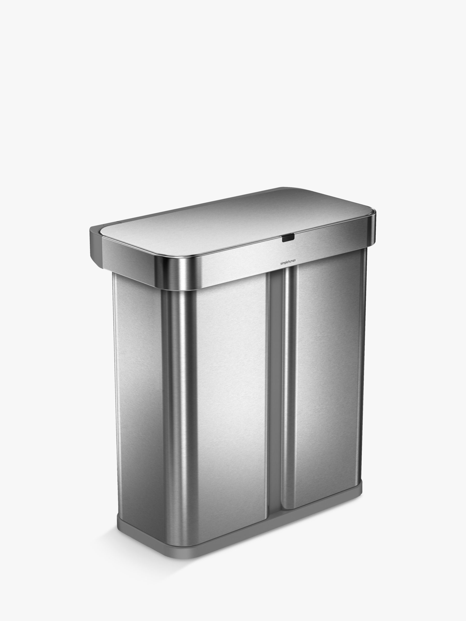 kitchen recycling bins display cabinets for sale shop pedal press top at john lewis simplehuman voice activated dual compartment recycler sensor bin 58l