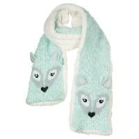 Buy Fat Face Children's Arctic Fox Scarf, Aqua | John Lewis