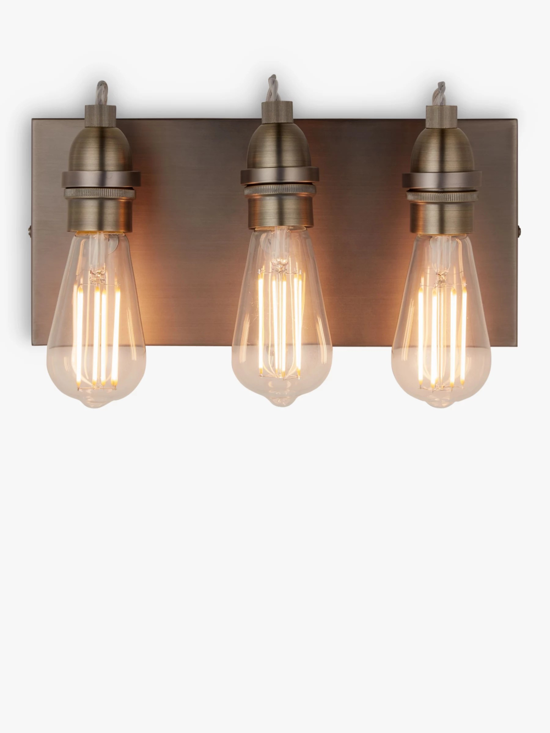 living room wall lights ideas wooden walls in lighting furniture john lewis partners bistro 3 arm light antique brass