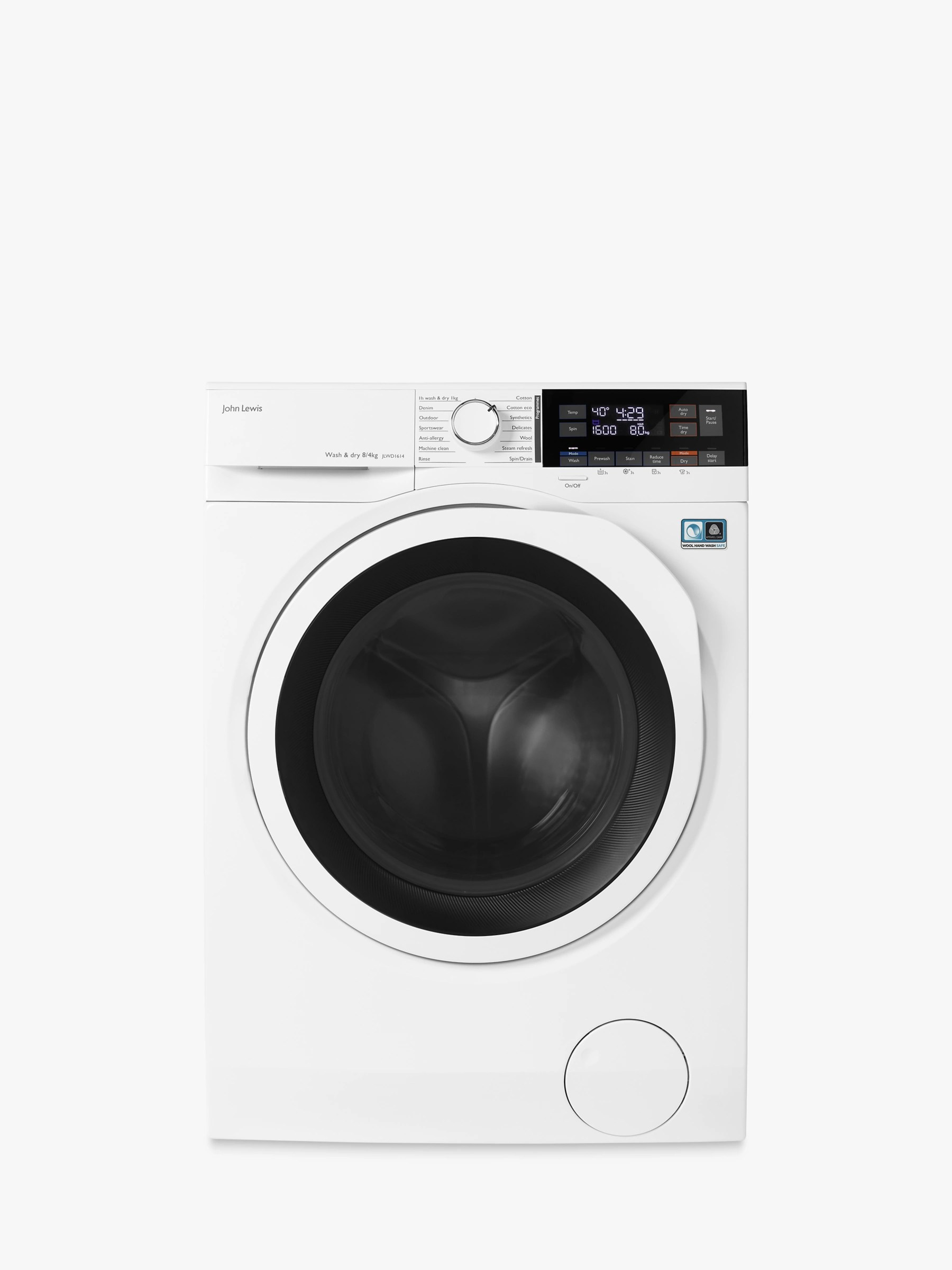 hight resolution of john lewis partners jlwd1614 freestanding washer dryer 8kg wash 4kg dry load a energy rating 1600rpm spin white at john lewis partners
