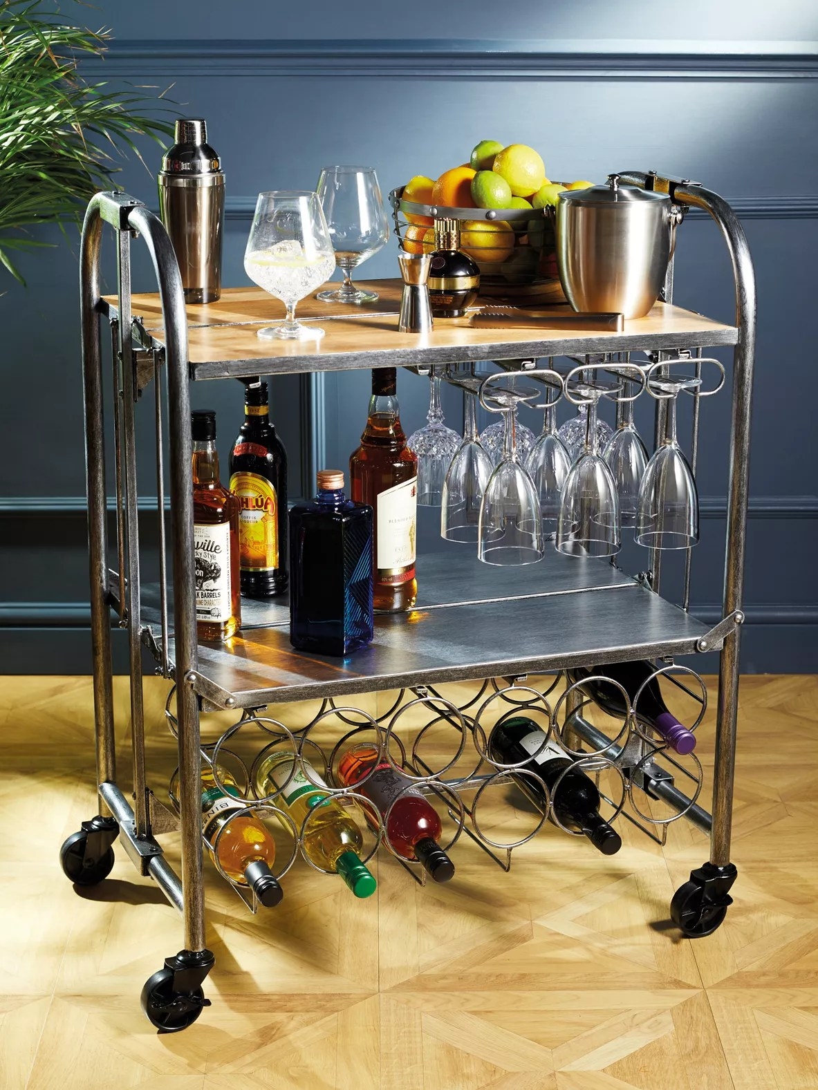 kitchen craft barcraft folding bar cart