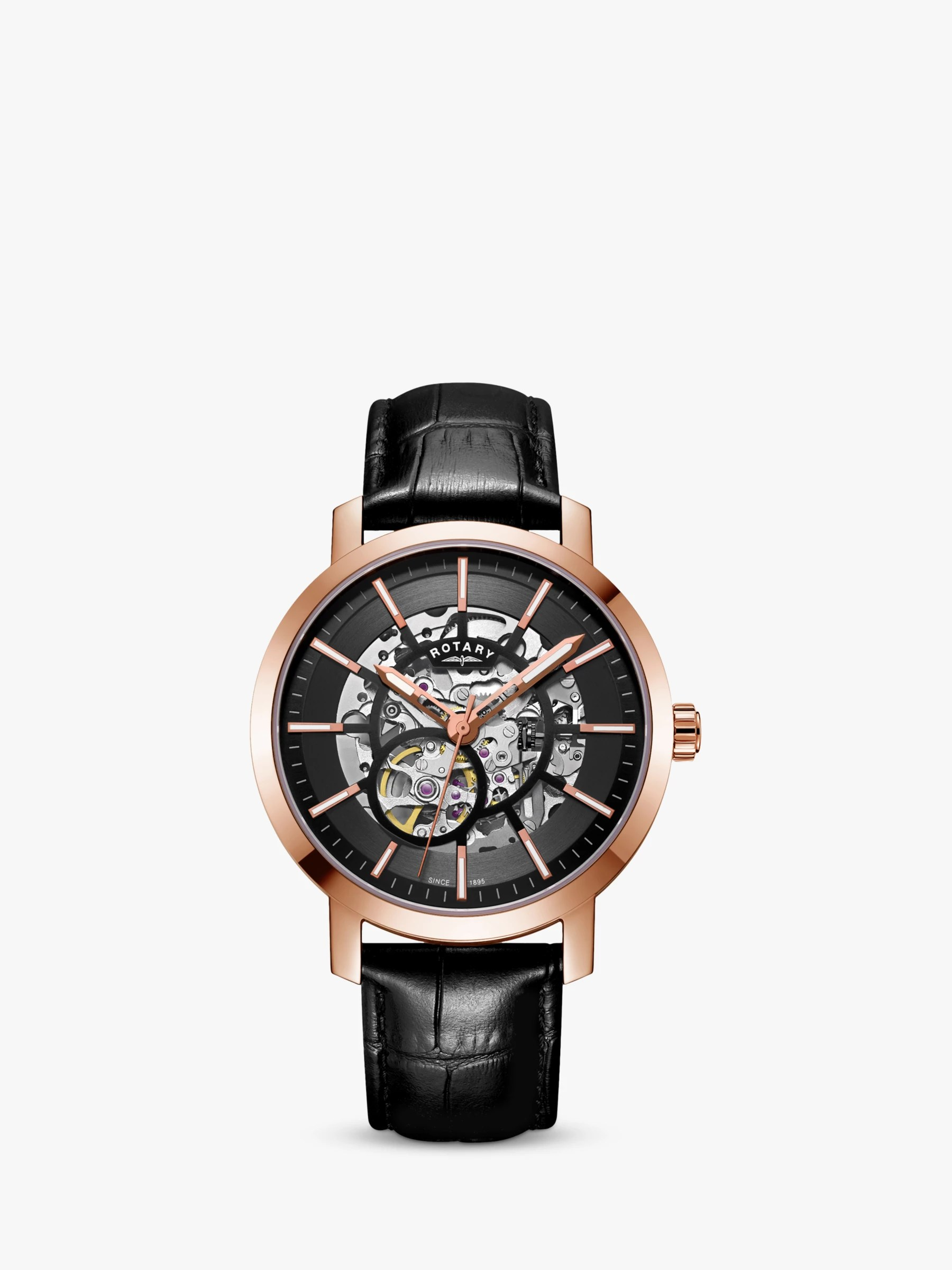 Rotary Men's Greenwich Skeleton Automatic Leather Strap Watch. Black GS05354/04 at John Lewis & Partners