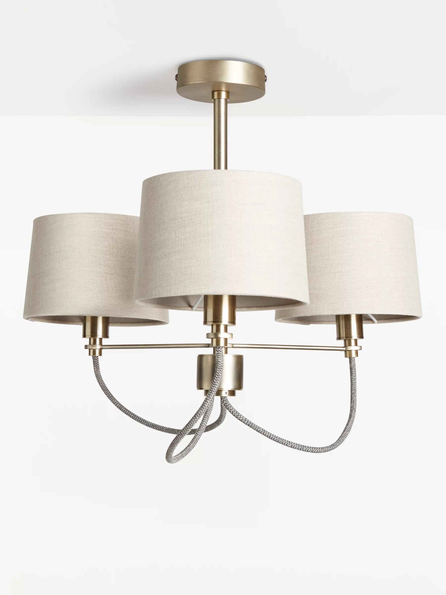 John Lewis Partners Rufus Semi Flush Ceiling Light Antique Brass At John Lewis Partners