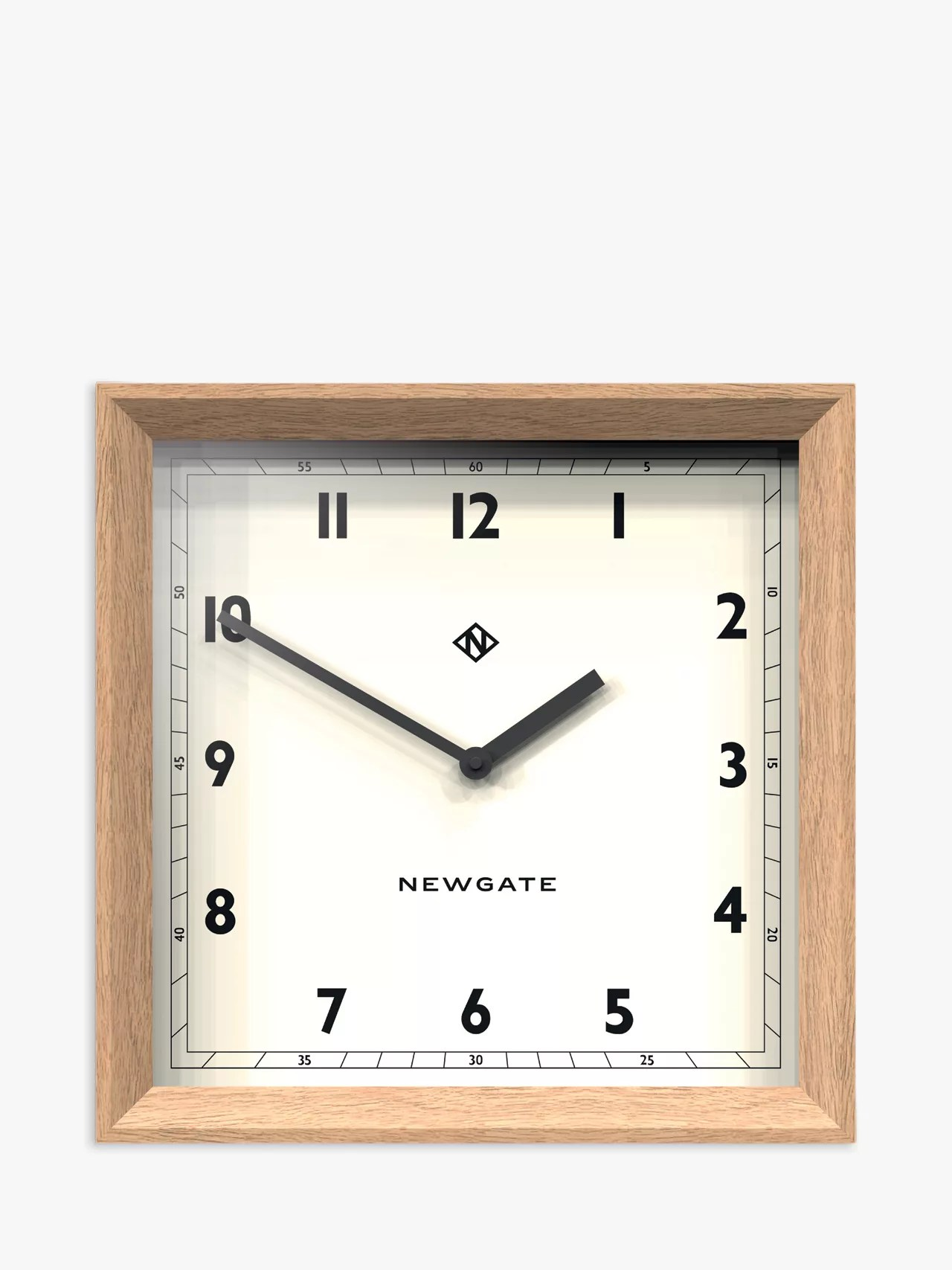 wooden kitchen clock chicken decor for wall clocks john lewis partners newgate old joe wood case square natural 40cm