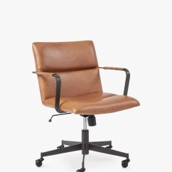 Revolving Chair Without Wheels Trampoline Chairs For Sale Office Desk Mesh Leather John Lewis West Elm Cooper Mid Century Tan
