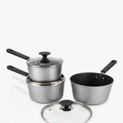 Kitchen Pan Set Undermount Stainless Sinks Cookware Sets Pots And Saucepan John Lewis Eaziglide Neverstick Non Stick With Lids 3 Piece Black