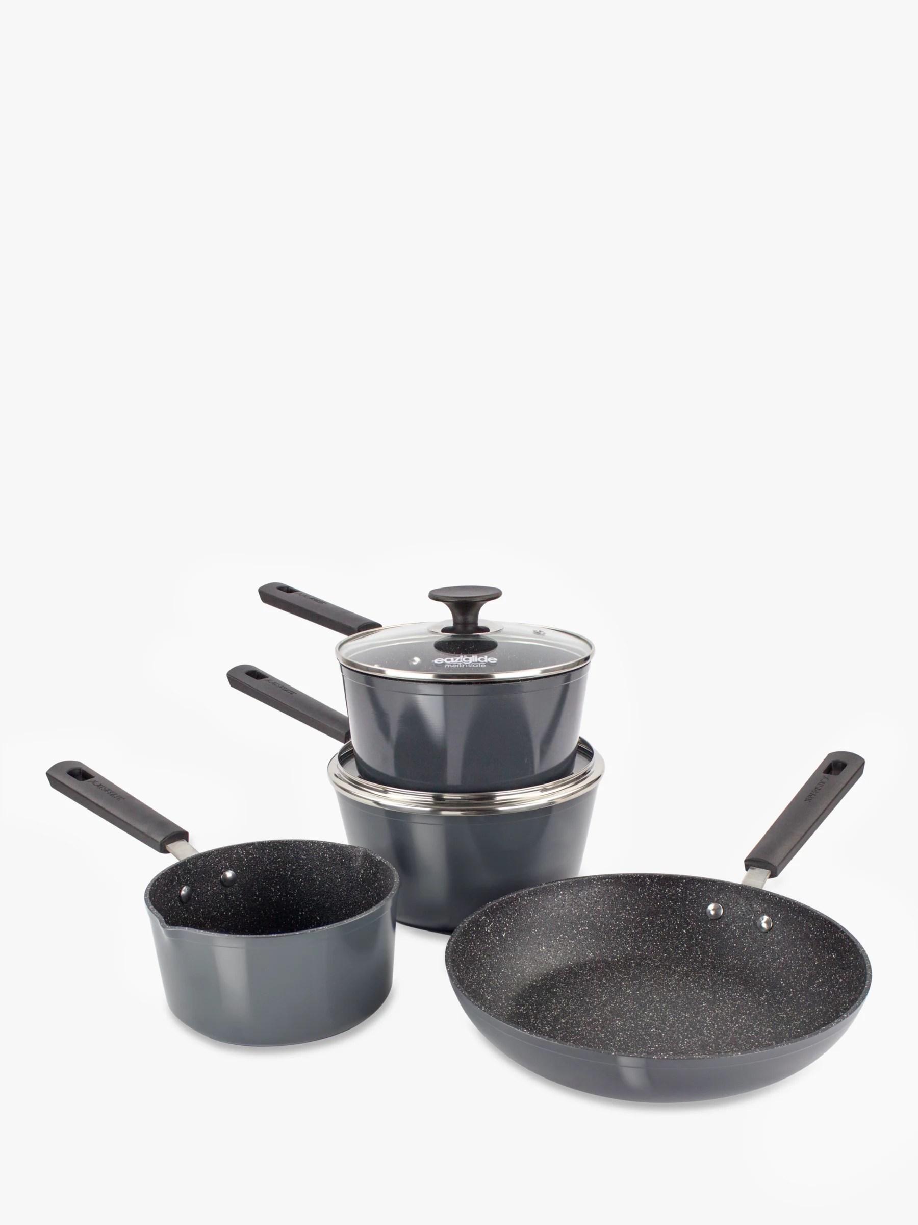 kitchen pan set cabinet hutch cookware sets pots and saucepan john lewis eaziglide neverstick non stick 4 piece black