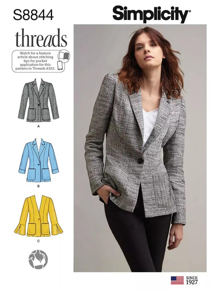 Women Blazer Patterns : women, blazer, patterns, Simplicity, Women's, Blazer, Sewing, Pattern,, Lewis, Partners