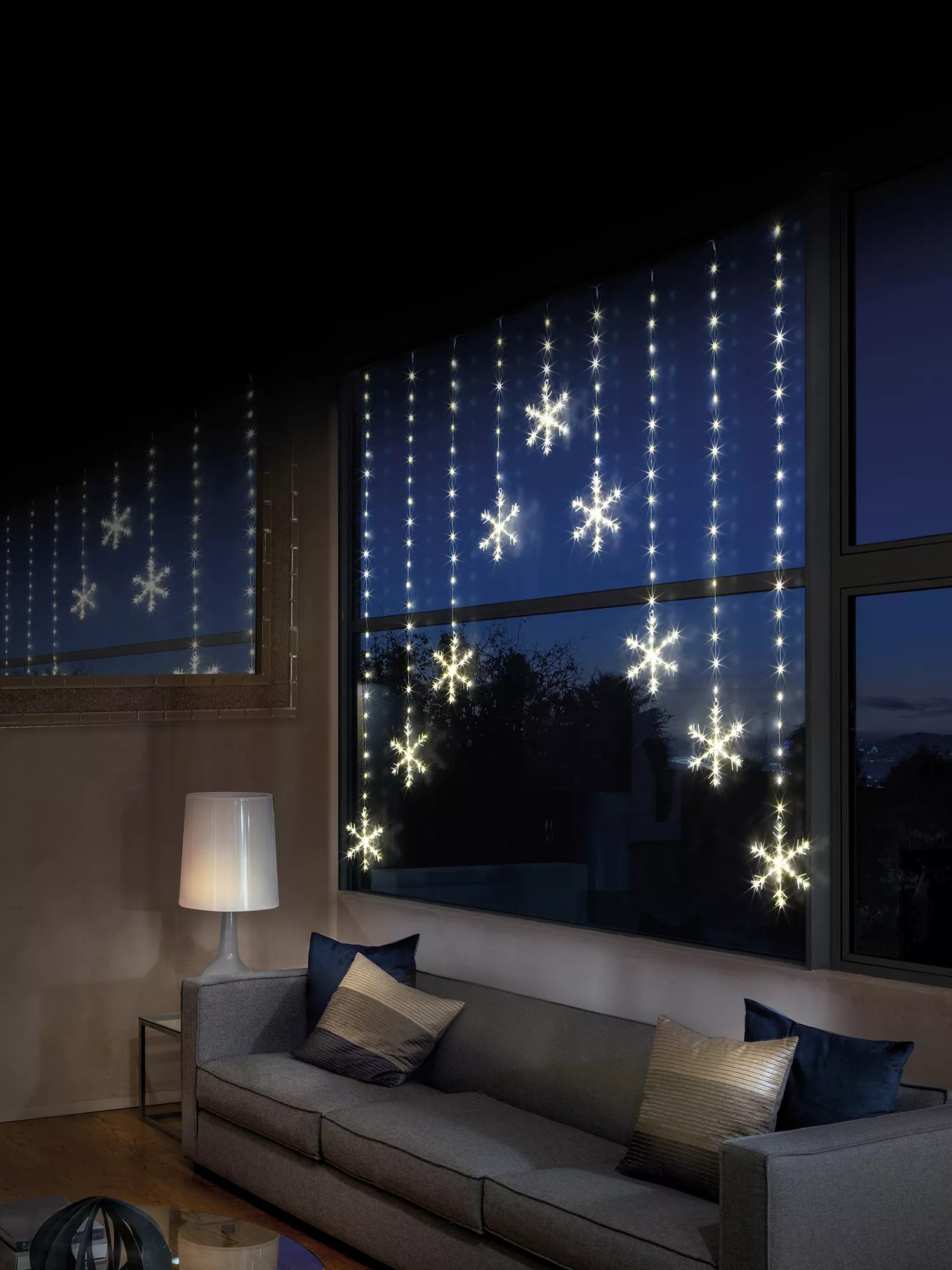 premier decorations 339 led snowflake pin wire window curtain lights l1 2m warm white