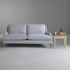 Berwick Mid Century Sleeper Sofa White Blue Pillows Vintage Chesterfield The Company ...