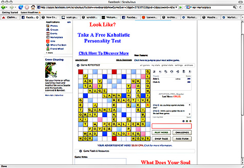 Scrabble screen