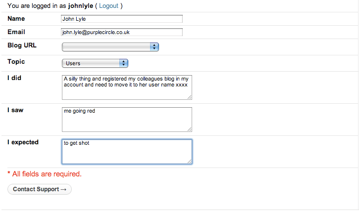 Wordpress customer contact form - showing my grovelling plea for help