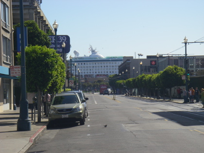 A massive cruise ship at the end of our road