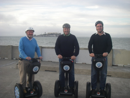 At the end of South Beach Pier with Alcatraz as a backdrop for our Segway's