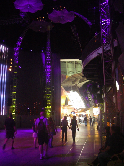 The Lobby with the shiny bits from the outside coming inside massive LED screen and odd floating unbrellas on the roof