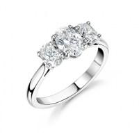 Platinum Oval Trilogy Engagement Ring - johnmacintyre