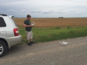 Robert Mahaffie deploying his drone
