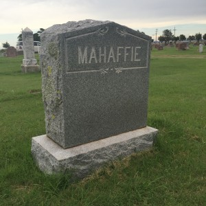 The Mahaffie Headstone, Hobart Rose Cemetery