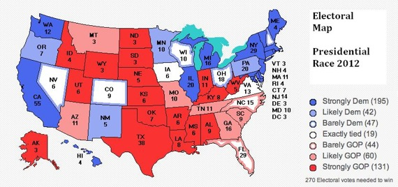 Electoral Map Presidential Race 2012