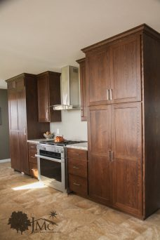 Kitchen with wooden refrigerator in Mishawaka, Indiana