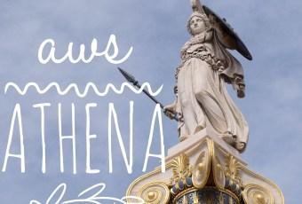 aws athena text over the athena statue