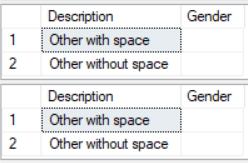 Select char where = ' '