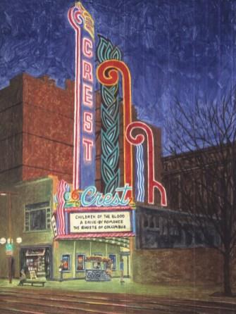 Crest Theatre - Monoprint - 19 x 14 inches
