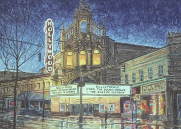 Hollywood Theatre 2 - Monoprint - 11 x 15 inches