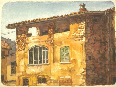 Ponte Tresa 2 - Watercolor - 10 x 13 inches