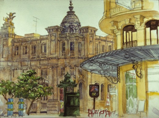 Los Correos, Valencia - Watercolor - 7 x 10 inches