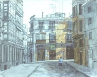 Calle Caballeros, Valencia, Spain (sketch) - Watercolor - 7 x 10 inches