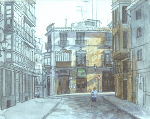 Calle Caballeros, Valencia, Spain (sketch) - Watercolor - 7 x 10 inches