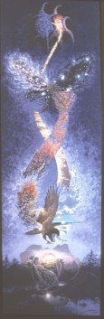 Helix Helios - Acrylic/Collage/canvas - 18 x 50 inches