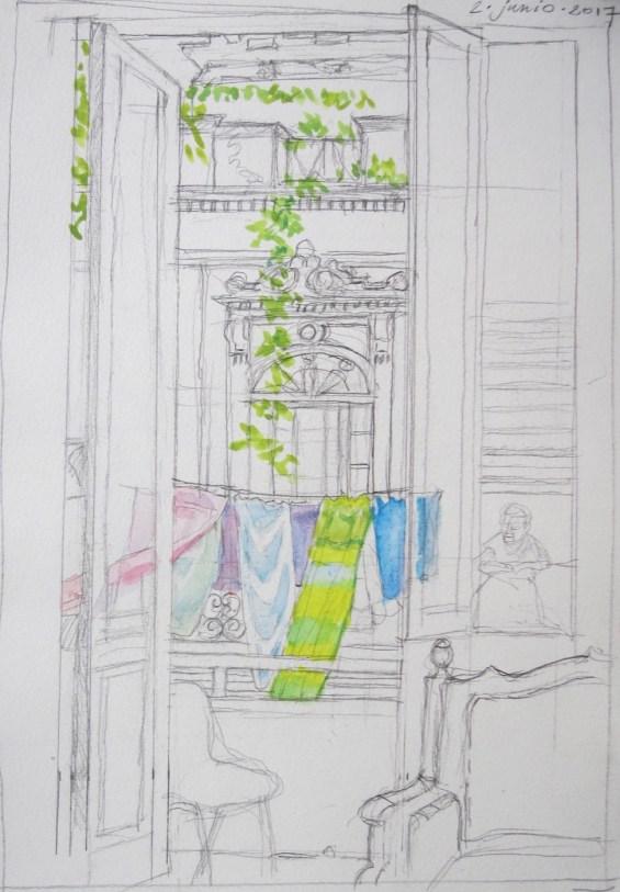 Havana, Neighbors' House - Watercolor - 7 x 10 inches