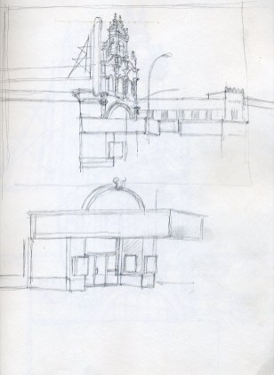 Hollywood Theatre Sketch - Pencil/paper - 7 x 10 inches