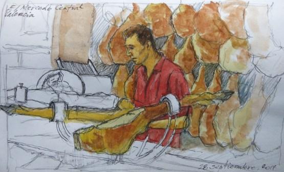 Jamonero José 2 - Watercolor - 7 x 10 inches