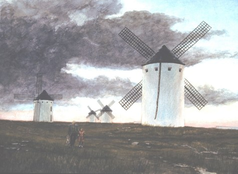 La Mancha: Molinos - Watercolor - 20 x 29 inches