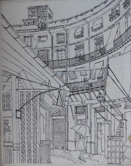 Mercado Redondo, Valencia, Spain - Pencil/paper - 7 x 10 inches