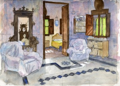 Bedroom in Paterna - Watercolor - 7 x 10 inches