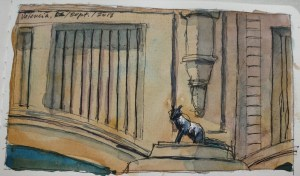 Feral Cat - Watercolor - 3 x 6 inches