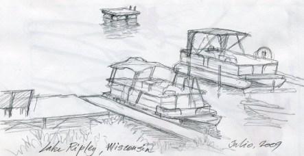 Boats, Lake Ripley - Pencil/paper - 7 x 10 inches
