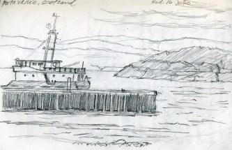 Scotland: Ferry - Pencil/paper - 5 x 7 inches