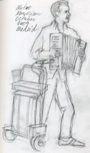 Subway Musician, Madrid - Pencil/paper - 5 x 7 inches